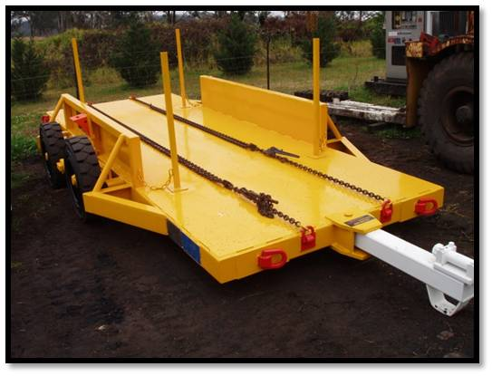 Mesh carrying trailer for underground mines