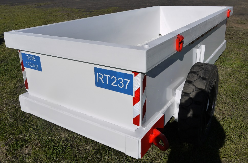 Trailer used for Mesh bundles In and Rubbish Out of Underground mines